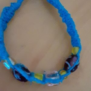 Blue Macrame Bracelet with purple, pink and yellow